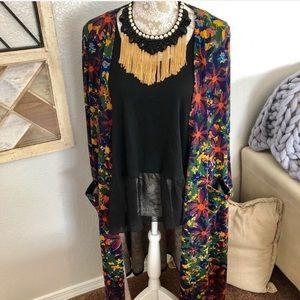 LuLaRoe Floral Sarah Sweater Cardigan Size Medium